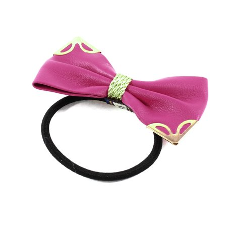 Unique Bargains Metallic Decor Fuchsia Bow Tie Stretch Hair Rubber Band Ponytail - Bow Rubber Bands