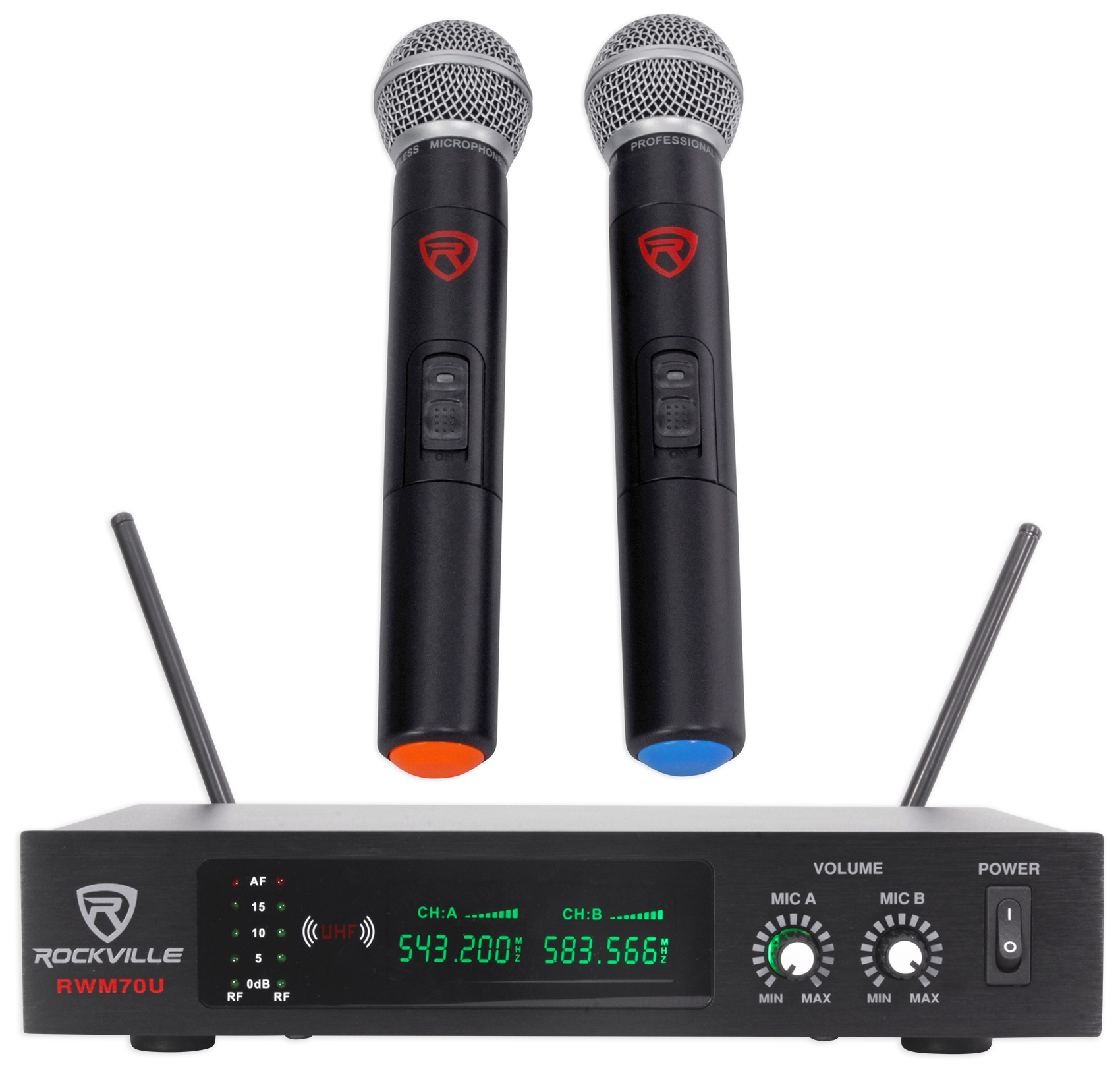 Rockville RWM70U Dual UHF All Metal Handheld Wireless Microphone System w LCD by ROCKVILLE