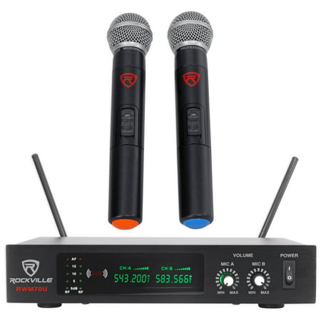 Uhf 5805 Rechargeable Wireless Microphone (Rockville RWM70U Dual UHF All Metal Handheld Wireless Microphone System w/LCD )