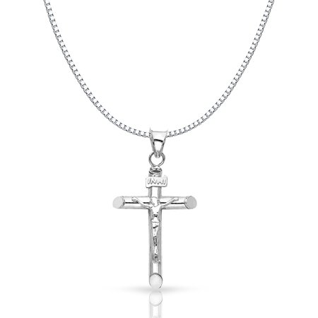 14K White Solid Gold Crucifix Cross Religious Charm Pendant with 1mm Box Chain Necklace