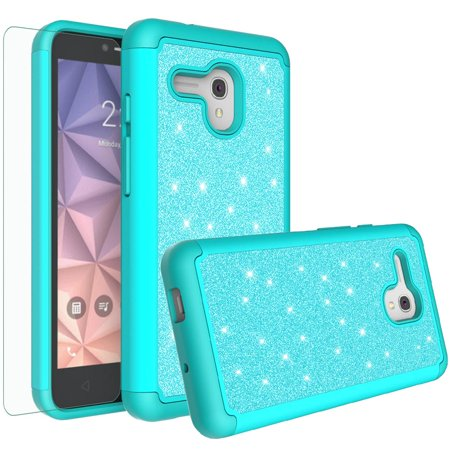 Phone Case for Jitterbug Smart,Alcatel Fierce XL/Pixi Glory/Onetouch Flint Case,Cute Glitter Bling SiliconeShock Proof [Screen Protector] Women Girls Dual Layer Protective Cover -