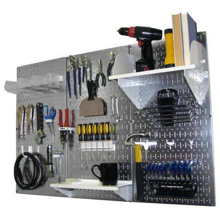 4ft Metal Pegboard Standard Tool Storage Kit - Galvanized Metallic Toolboard & White Accessories
