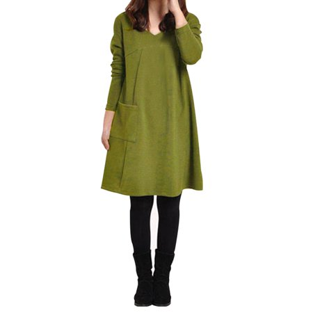 (Womens Pocket Tunic Loose Long Sleeve Dresses A Little Thicker)