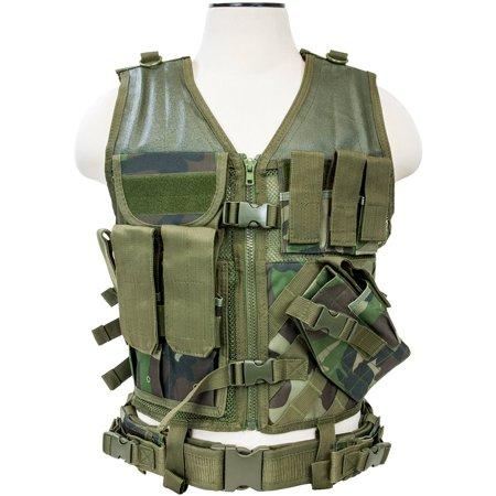 Tactical Vest, Woodland Camo (Medium to XL)