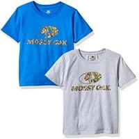 Mossy Oak Boys Short Sleeve Graphic T-Shirts (2 Pack), Large, Heather Grey/Royal