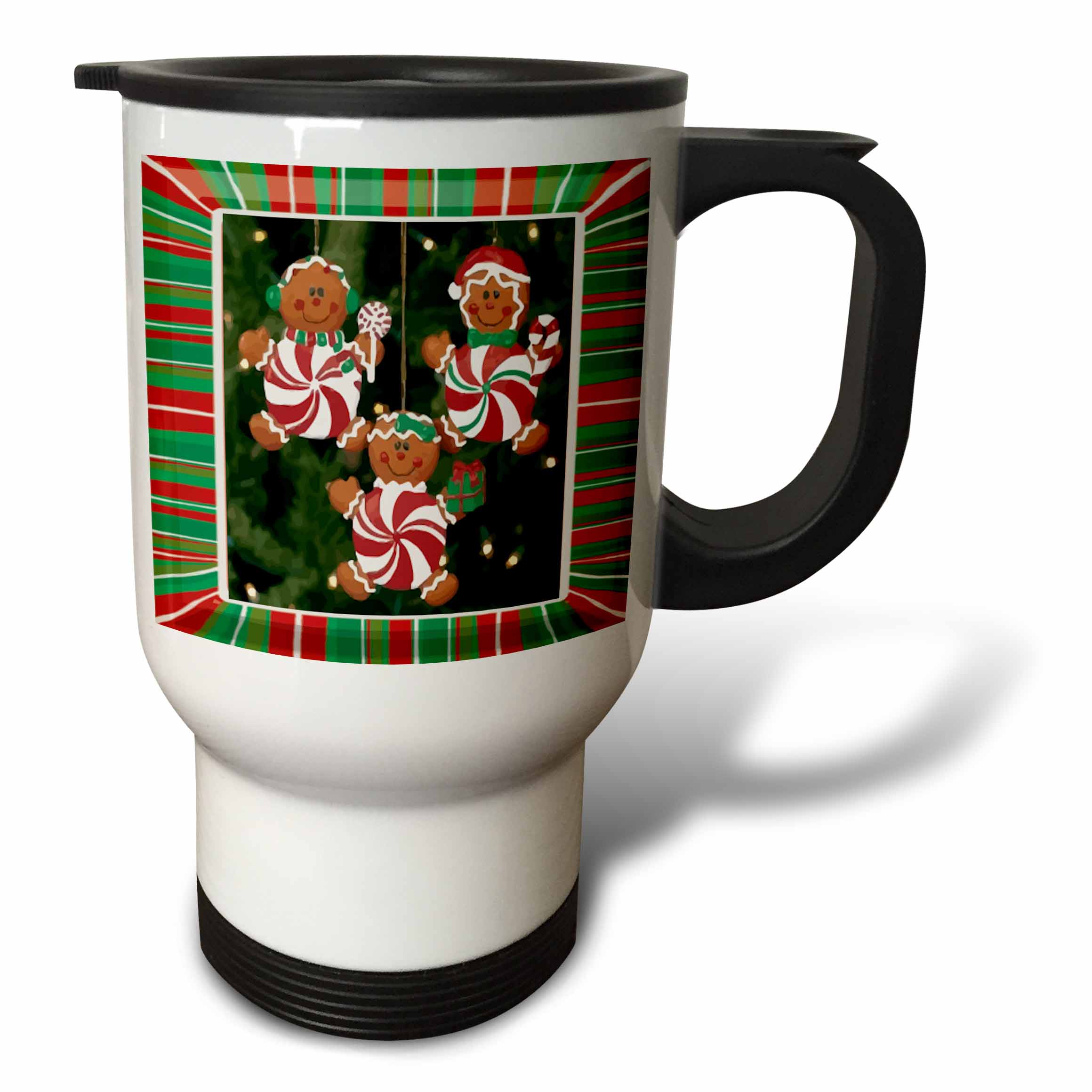 3dRose Peppermint Gingerbread Ornaments, Travel Mug, 14oz, Stainless Steel