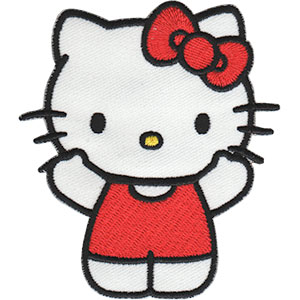 """In Pink - Hello Kitty Artwork Embroidered Iron On Patches, 6"""" x 7"""" Applique Patch"""