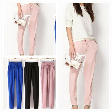 Straight Leg Wool Trousers - Fashion Women Solid Color Elastic Drawstring Summer Harem Pants Straight Legs Casual Loose Comfortable Ladies Trousers New