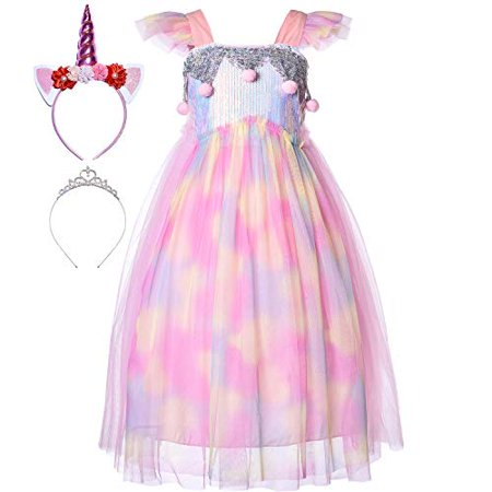Toddlers And Tiaras Halloween Costume Dress (Princess Little Mermaid Ariel Costume Rainbow Unicorn Dress Up Clothes Sequin Mesh Ribbon Tutu Outfit Skirt with Tiara Headband Accessories for Toddler Girls Birthday Party Halloween 7-8)