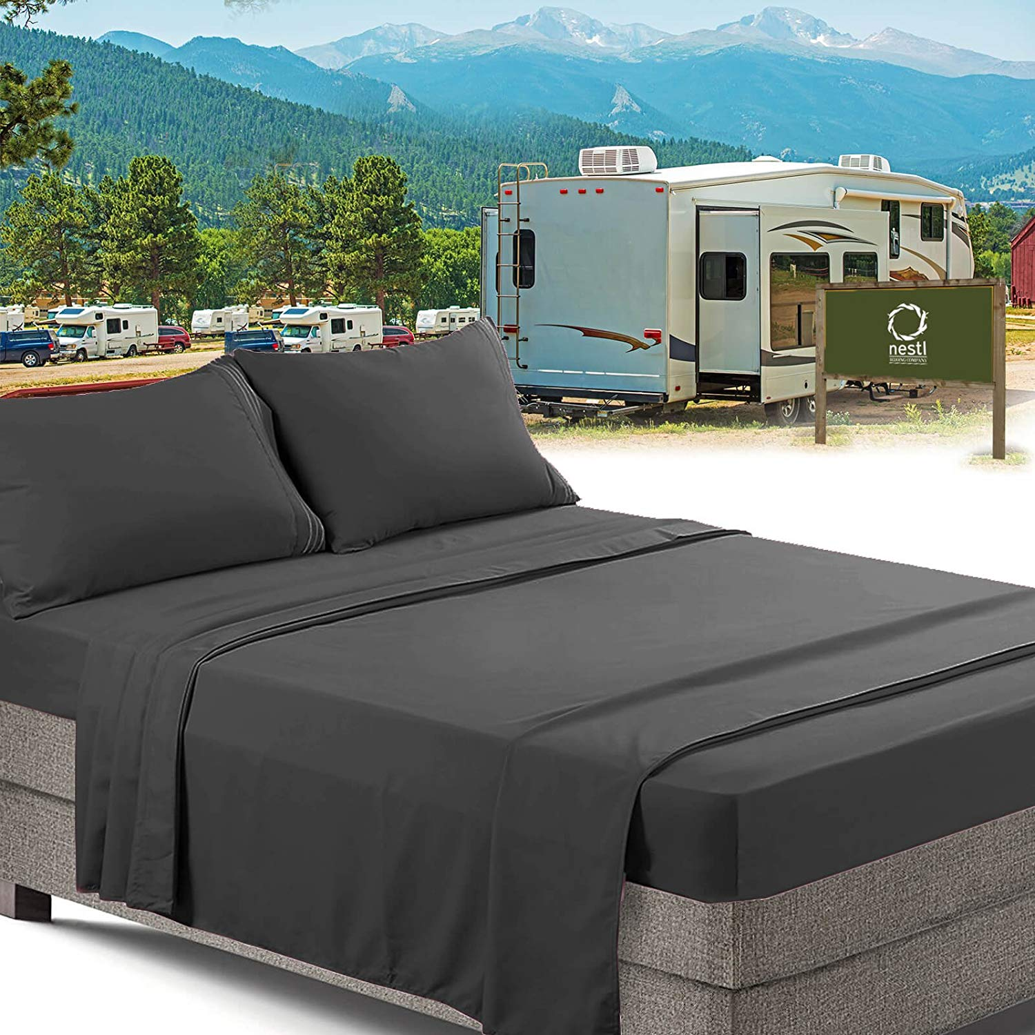 Picture of: Rv Short Queen Bed Sheets Set Bedding Sheets Set For Campers 4 Piece Bed Set Deep Pockets Fitted Sheet 100 Luxury Soft Microfiber Hypoallergenic Cool Breathable Gray Walmart Com Walmart Com
