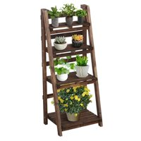 Topeakmart 4 Tier Foldable Wooden Flower Stand Flower Plant Display Stand Shelf Ladder Stand Indoors & Outdoors, Natural Wood
