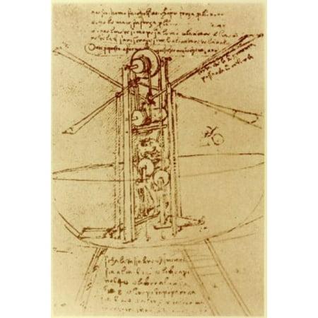 DRAWING OF A FLYING MACHINE WITH A MAN OPERATING IT PEN & INK Leonardo da Vinci 1452 d1519 Florentine Institut de France Paris Canvas Art - Leonardo da Vinci (24 x