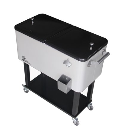 Palm Springs Outdoor 80 Quarts Portable Rolling Cooler Cart Home Party Ice Chest ()