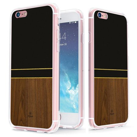 iPhone 6s Geometric Case - True Color Clear-Shield Rosewood, Black & Gold Stripes Effect Printed on Clear Back - Soft and Hard Thin Shock Absorbing Dustproof Full Protection Bumper Cover