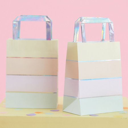 Ginger Ray Pastel Party Foil Stripe Treat Bag (5) - Rays Party Store