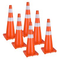 """Yescom 36"""" Traffic Cones Reflective Safety Cones Fluorescent Collars Overlap Parking Construction Emergency 6 Pcs"""