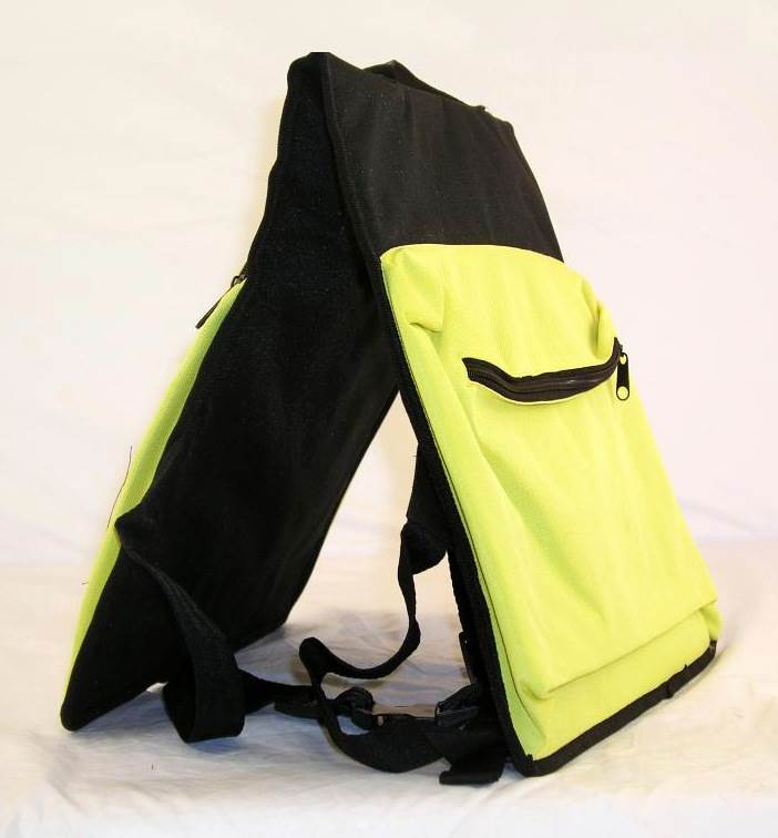 Zippered Dog Backpack Harness in Black & Yellow