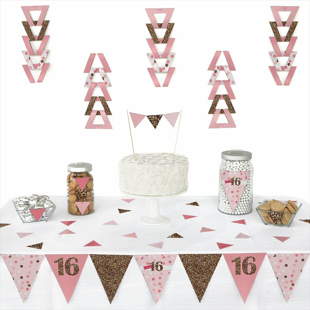 Sweet 16 - Triangle 16th Birthday Party Decoration Kit - 72 Pieces
