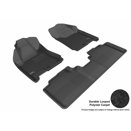 - 3D MAXpider Stylish Custom Fit All Weather Floor Mats for 2010-2016 Cadillac SRX Front & Second Row in Black Carpet