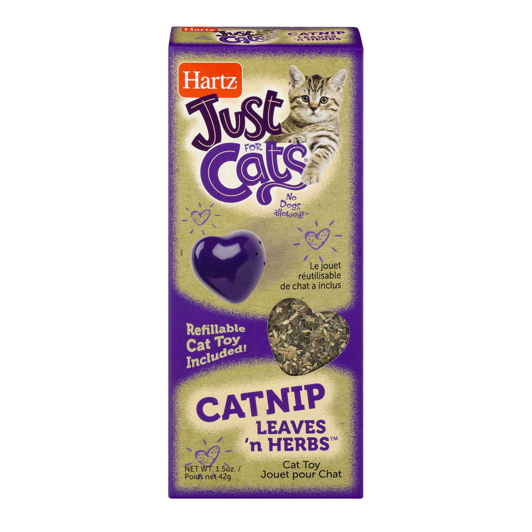 Hartz Just For Cats Catnip Leaves N' Herbs, with Refillable Cat Toy