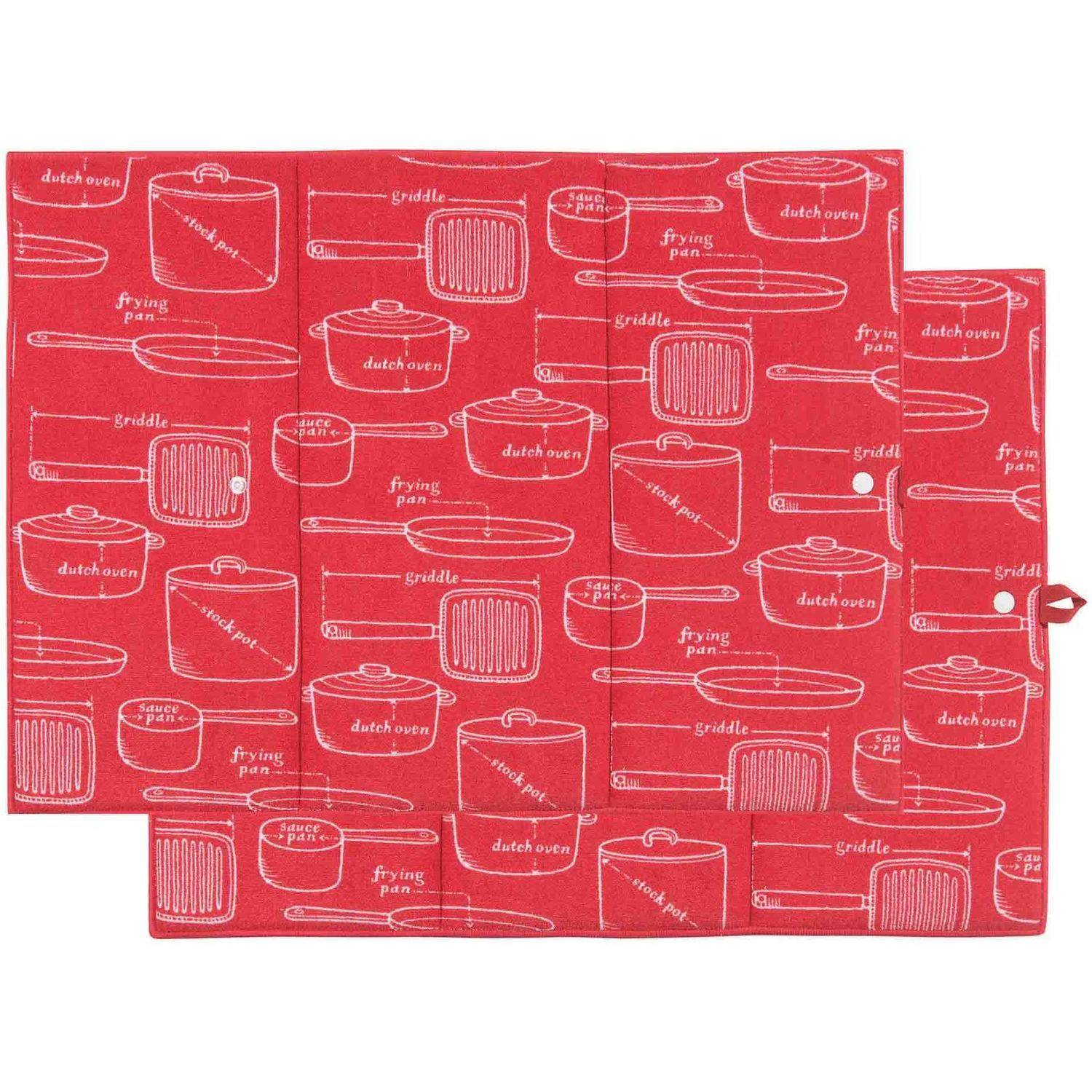 Now Designs Kitchen Microfiber Drying Mat, Red, 2-Count