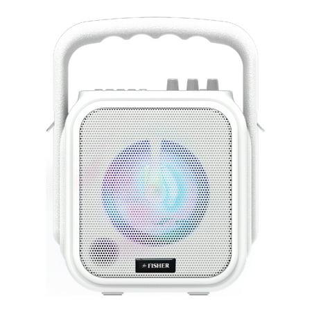 Fisher Mini Wireless Stereo Speaker System, Portable, Bluetooth, Mic Input - White ()