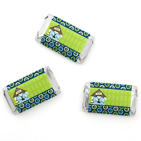 Twin Boy Puppy Dogs - Mini Candy Bar Wrappers Baby Shower or Birthday Party Favors - 20 Count