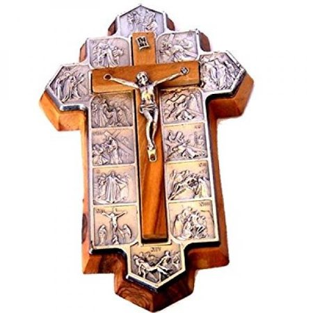 olive wood crucifix - icon showing 14 stations of the cross etched on metal (14x9x1 cm or 5.5x3.5x.4 inch)