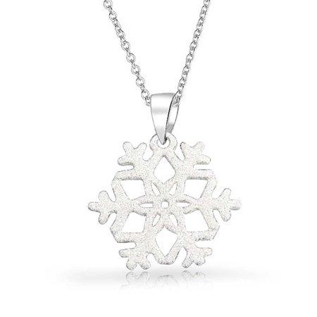 Winter White Glitter Enamel Christmas Holiday Pendant Snowflake Pendant Necklace For Women For Teen 925 Sterling Silver - image 4 de 4