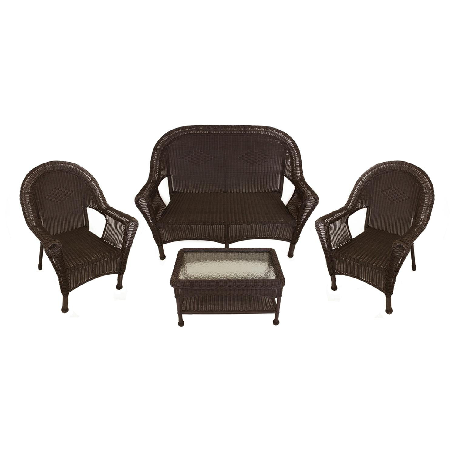 4 Piece Brown Resin Wicker Patio Furniture Set  2 Chairs Loveseat U0026 Table