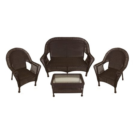 Astonishing 4 Piece Brown Resin Wicker Patio Furniture Set 2 Chairs Loveseat Table Alphanode Cool Chair Designs And Ideas Alphanodeonline