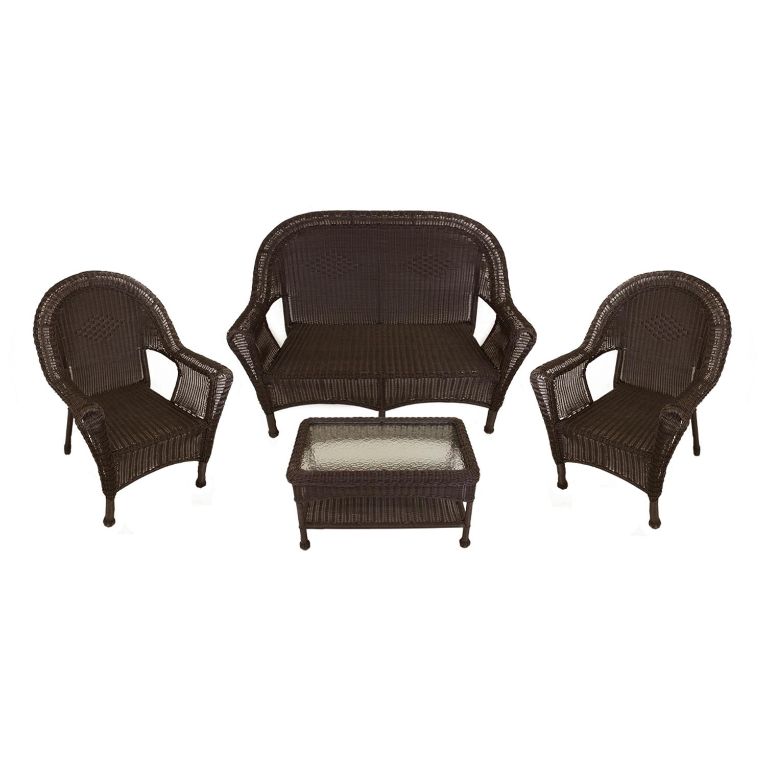 4piece brown resin wicker patio furniture set 2 chairs loveseat u0026 table