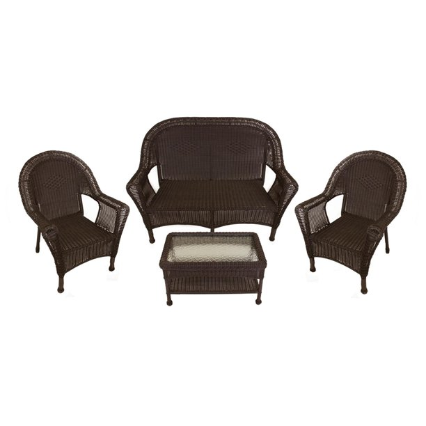 Brown Resin Wicker Patio Furniture Set