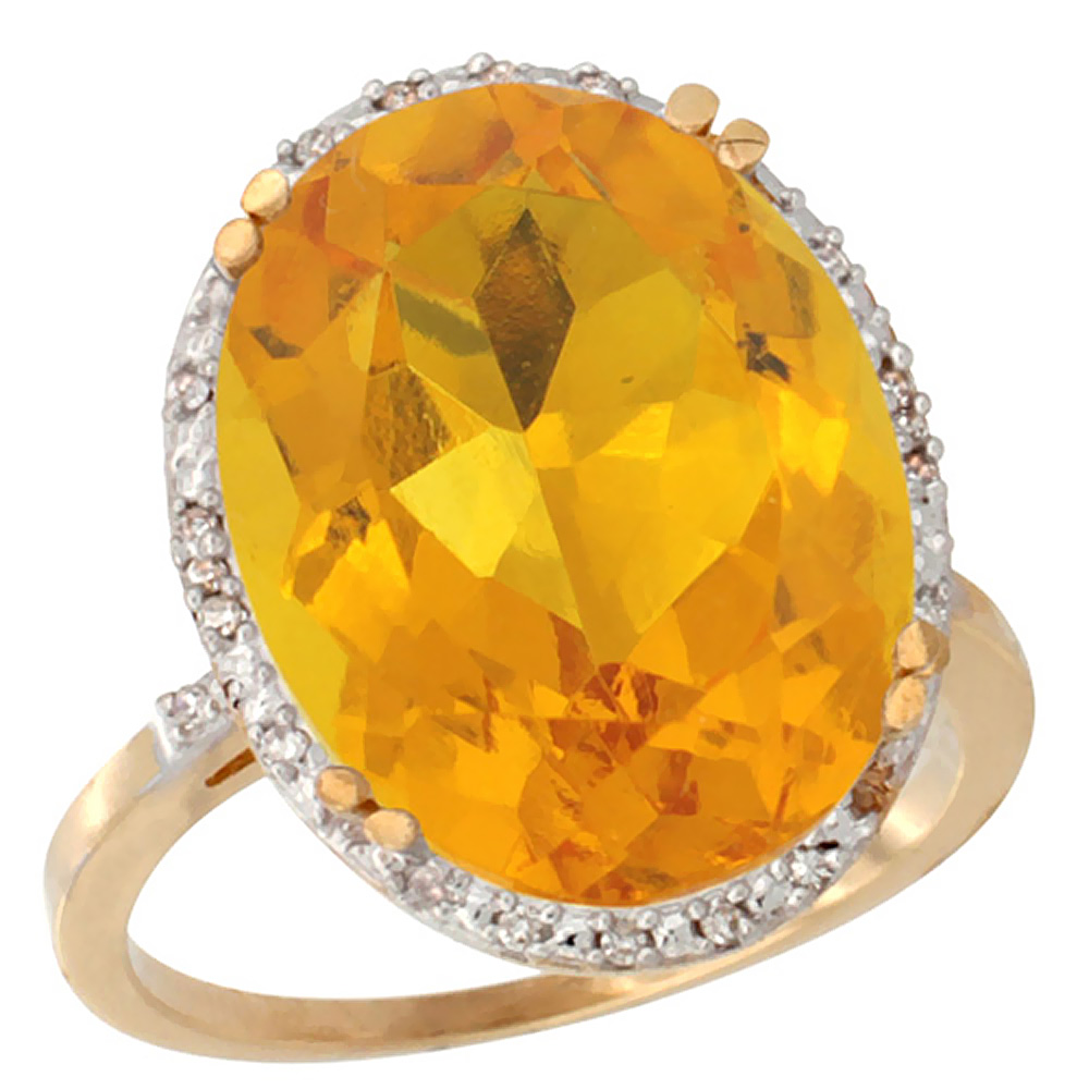 14K Yellow Gold Natural Citrine Ring Large Oval 18x13mm Diamond Halo, size 5 by Gabriella Gold