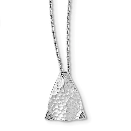 Diamond Triangle Necklace - Sterling Silver Textured Triangle Diamond Necklace 18in (0.012CT)