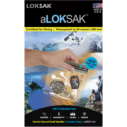 "Loksak aLoksak Waterproof Re-Sealable Storage Bags (2 Pack) - 5"" x 4"""