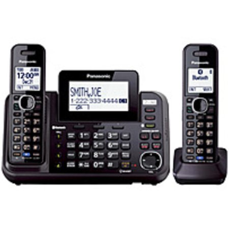 Refurbished Panasonic Link2Cell KX-TG9542B DECT 6.0 1.90 GHz Cordless Phone - Black - 2 x Phone Line - 2 x Handset - Speakerphone - Answering Machine -