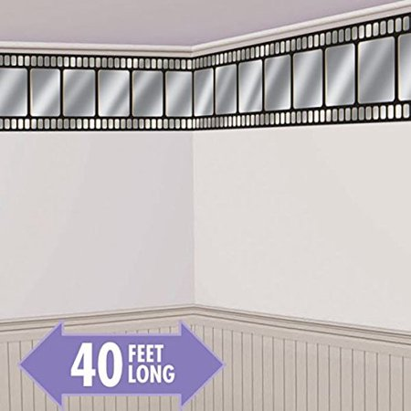 Movie Night Hollywood Themed Party Metallic Movie Film Border Roll Wall Decoration, Vinyl, 40 Feet x 18 Inches, Hang this lightweight vinyl wall.., By Amscan - Desk Decoration Themes