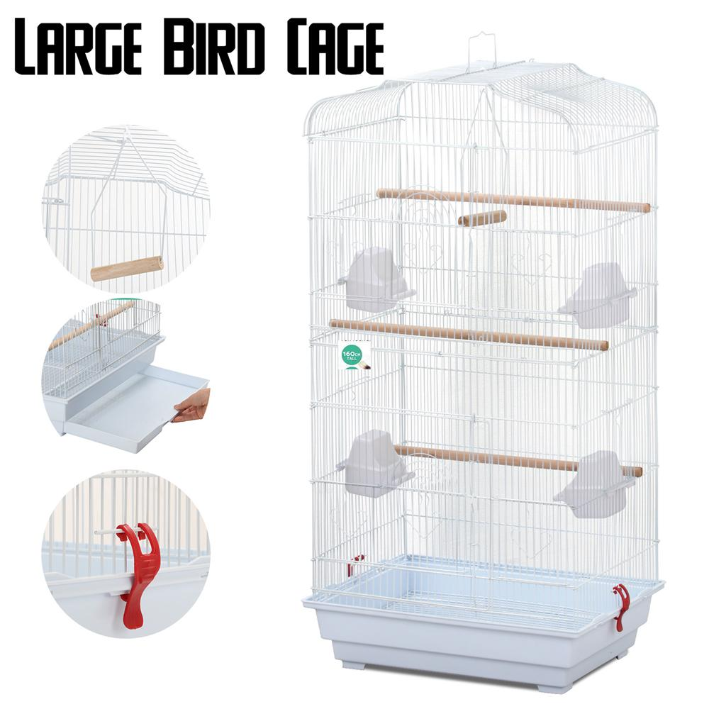 Large Metal Bird Cage Budgie Parrot Canary Cockatiel, 18x14x36'' White by Yaheetech