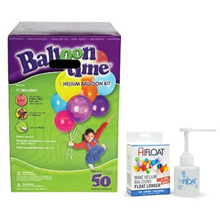 Balloon Time Disposable Helium Kit ,Tank 14.9 cu.ft Plus an Ultra HiFloat Party Balloons will Float for Several Days 50 Ballo - Balloon Tank