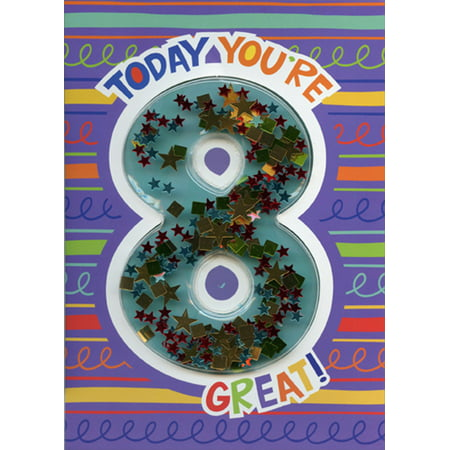 Paper House Productions Today You're 8 Confetti Shaker 3D Age 8 / 8th Birthday Card](Halloween Shaker Cards)