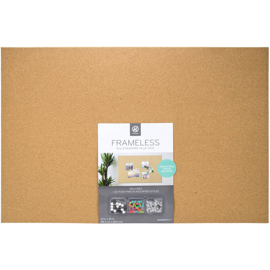 Cork Bulletin Board U Brands Cork Bulletin Board 23 X 35 Inches Frameless Value