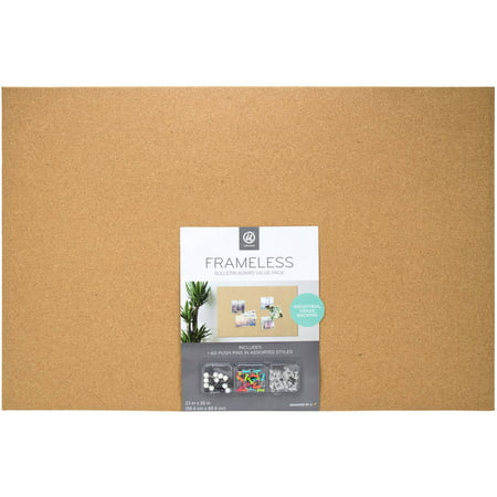 U Brands Cork Bulletin Board, Includes 60 Push Pins, 23 x 35 (Bright Bulletin Boards Cd)