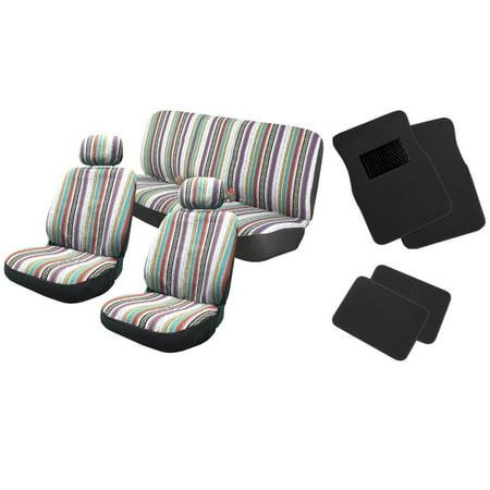 Baja Inca 12pc Saddle Blanket Seat Covers with Black Carpet Floor Mats