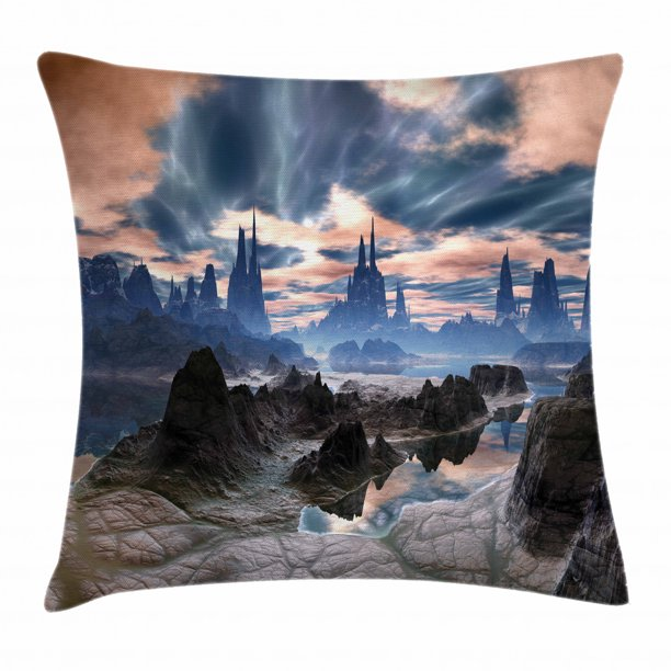 Fantasy Throw Pillow Cushion Cover Stormy Apocalypse Sky With Clouds Over Rock Towers On Alien World