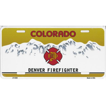 Colorado Denver Firefighter Metal License Plate