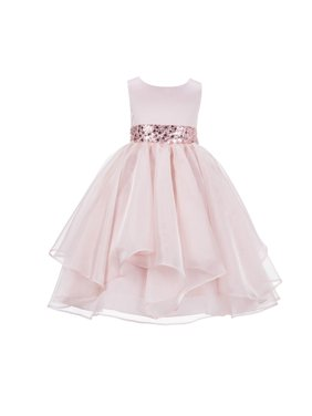 Ekidsbridal Asymmetric Ruffled Organza Sequin Flower Girl Dress Weddings Easter Special Occasions Pageant Toddler Birthday Party Holiday Bridal Baptism Junior Bridesmaid Communion 012s