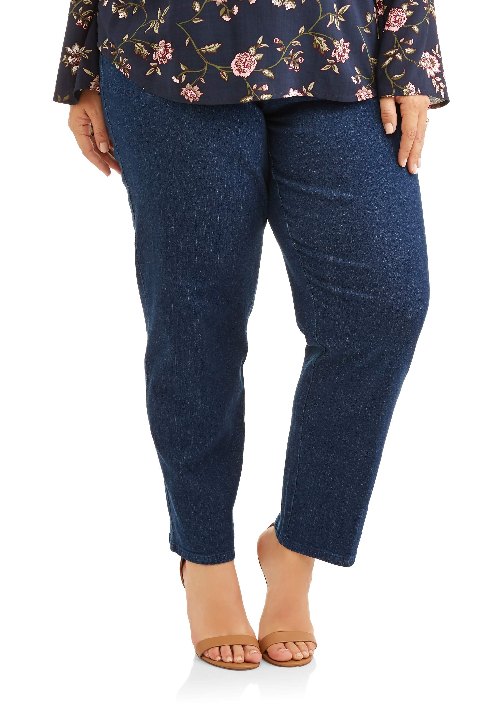 Women's Plus-Size Pull-On Stretch Woven Pants, Available in Regular and Petite Lengths