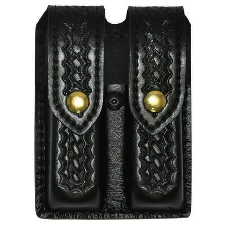 "Glock 17,22 , Brass Snap Double Handgun Magazine Pouch (Basketweave Black), Design matches all 2.25"" duty belts By Safariland Duty Gear"