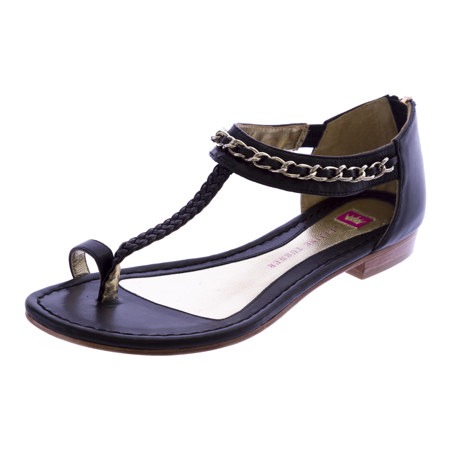 ELAINE TURNER Diane-SP12 Zip Back Leather Sandals Black